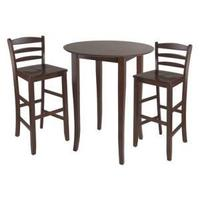 Winsome Trading 94389 Fiona 3pc High Round Table with Ladder Back Stool