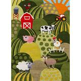 Momeni Rugs Lil' Mo Whimsy Collection, Kids Themed Hand Carved & Tufted Area Rug, 5' x 7', Grass Green
