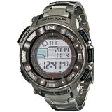 Casio Men's PRO TREK Stainless Steel Japanese-Quartz Watch with Titanium Strap, Silver, 20 (Model: PRW-2500T-7CR)