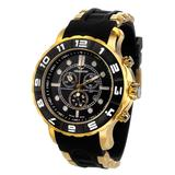 Aquaswiss 96XG025 Man's Chronograph Watch Swiss Rugged Collection Black and White Bezel Gold Tone Case Rubber Strap with Gold Inserts