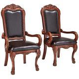 ACME Dresden Arm Chair (Set-2) - - PU & Cherry Oak