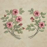 Les Fleurs Rose Spray Wall Sculptures Pink, Right, Pink