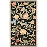 Safavieh Chelsea Collection HK248B Hand-Hooked French Country Wool Area Rug, 4' x 4' Round, Black