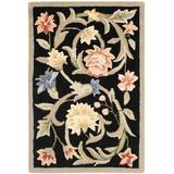 """Safavieh Chelsea Collection HK248B Hand-Hooked French Country Wool Accent Rug, 1'8"""" x 2'6"""", Black"""