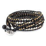'All Night' - Handmade Leather and Onyx Beaded Wrap Bracelet
