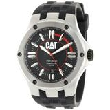 CAT WATCHES Men's A114121128 Navigo Date Black and Red Analog Dial Red Rubber Strap Watch
