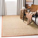Safavieh Natural Fiber Collection NF114B Border Basketweave Seagrass Area Rug, 8' x 8' Square, Brown