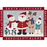 """Milliken Holiday Collection Santa & Friends, 3'10""""x5'4"""" Rectangle, Indian Red"""