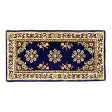 Minuteman International Blue Oriental Wool Hearth Rug,Rectangular