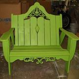 Uwharrie Chair Veranda Garden Bench Wood in Blue, Size 44.5 H x 34.5 W x 38.0 D in | Wayfair V051-031-Wash