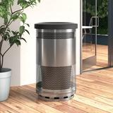 Witt Stadium Series Perforated Metal 55 Gallon Trash Can Stainless Steel in Black, Size 40.0 H x 23.5 W x 23.5 D in   Wayfair