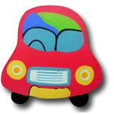 """One World Oversized Handpainted 4"""" Car Novelty Knob Wood in Blue/Brown/Red, Size 4.0 H x 4.0 W x 0.63 D in   Wayfair DP00000547"""