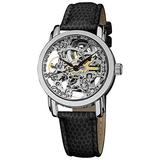 Akribos XXIV Women's Skeleton Automatic Watch - Stainless Steel See-Through Face and Leather Dress Band Watch - AK431