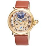 Akribos XXIV Men's AKR451YG Bravura Mechanical Dual Time Skeleton Gold-Tone Watch