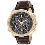 Citizen Eco-Drive Brycen Chronograph Mens Watch, Stainless Steel with Leather strap, Weekender, Brown (Model: BL5403-03X)
