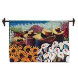 Wool tapestry, 'Harvesting Flowers'