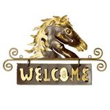 'Golden Horse Welcome' - Steel Black Welcome Sign Outdoor Living Horse