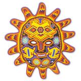 'Red Sunset' - Hand Made Mexican Hand Beaded Huichol Mask