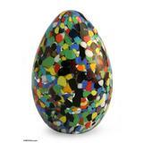 Handblown art glass paperweight, 'Confetti Egg'