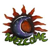 Iron welcome sign, 'Sun Moon Embrace'