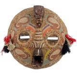 Zaire wood mask, 'Flying Protector' - Hand Beaded Wood Mask