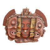 Ceramic mask, 'Three Ages of Man' - Aztec Archaeological Ceramic Mask