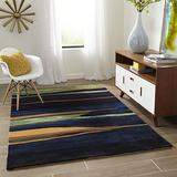 Momeni Rugs New Wave Collection, 100% Wool Hand Carved & Tufted Contemporary Area Rug, 2' x 3', Navy Blue