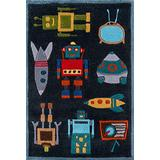 Momeni Rugs Lil' Mo Whimsy Collection, Kids Themed Hand Carved & Tufted Area Rug, 2' x 3', Robots Steel Blue