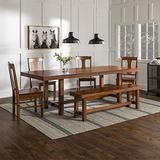 Walker Edison Rustic Farmhouse Rectangle Wood Dining Room Table Set with Leaf Extension, Brown Oak