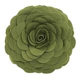 "Fennco Styles Eva's Flower Garden Decorative Throw Pillow with Insert - 13 inches Round (Kiwi, 13"" Case+Insert)"