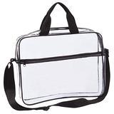 Clear Portfolio Briefcase Messenger Bag with Handles Work Document Storage Holder Transparent Travel File Organizer with Front Zipper Pouch & Pen Pocket On Side