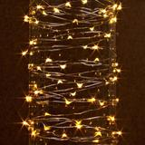 Gerson 38626 - 30 Light 10' Silver Wire Warm White Battery Operated Outdoor LED Micro Miniature Christmas Light String Set with Timer