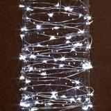 Gerson 38627 - 30 Light 10' Silver Wire Cool White Battery Operated Outdoor LED Micro Miniature Christmas Light String Set with Timer