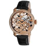 Akribos Automatic Skeleton Mechanical Men's Watch - Luxury Leather Band See Through Dial - Case with Skeletonized Dial - AKR418SS