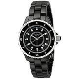 Akribos XXIV Women's AKR485BK Black Ceramic Watch with Link Bracelet