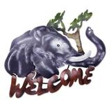 'A Jumbo Welcome' - Unique Elephant Steel Welcome Sign Outdoor Living