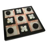 'Rose on Black' - Marble Tic Tac Toe Board Game from Mexico