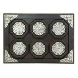 Nickel and wood tray and coasters, 'Wilderness' (set of 6)
