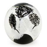 '1000 Black Flowers' - Handblown Murano Inspired Glass Paperweight