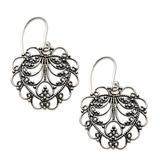 'Valentine Vine' - Hand Made Sterling Silver Heart Earrings