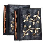 Pandanus journals, 'Dancing Leaves' (set of 2)