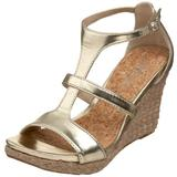 Kenneth Cole REACTION Women's Kiss Or Dare Wedge Sandal,Light Gold,9 M US