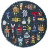 Momeni Rugs Lil' Mo Whimsy Collection, Kids Themed Hand Carved & Tufted Area Rug, 5' Round, Robots Steel Blue