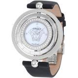 Versace Women's 80Q91SD497 S009 Eon 3 Rings Diamond Bezel and Black Satin Watch