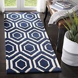 "Safavieh Chatham Collection CHT731C Handmade Geometric Premium Wool Runner, 2'3"" x 7' , Dark Blue / Ivory"