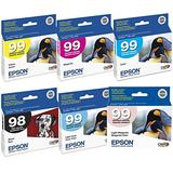Epson 725 ink Color Multipack Ink Inkjet Genuine Cartridges 98/99 with Black, Cyan, Magenta, Yellow, Light Cyan, and Light Magenta for the Epson Artisan 725 Printer Includes: T098120, T099220 T099320, T099420, T099520, T099620