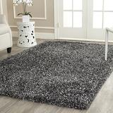 "Safavieh Malibu Shag Collection MLS431C Handmade Solid 1.4-inch Thick Accent Rug, 2'6"" x 4', Charcoal"