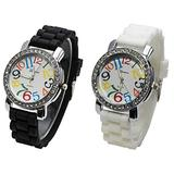 2 Pack White and Black Geneva Women's Large Round Face Silicone Rainbow Numbers Watch