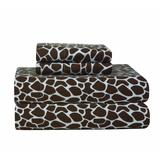 Pointehaven Heavy Weight Flannel Sheet Set, Twin Extra Large, Giraffe Print/Chocolate