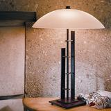 """Hubbardton Forge Metra 18"""" Table Lamp Glass/Metal in White/Brown, Size 18.25 H x 13.5 W x 13.5 D in   Wayfair 268422-05-S48"""